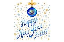 Balls Happy New Year Card Xmas Decor