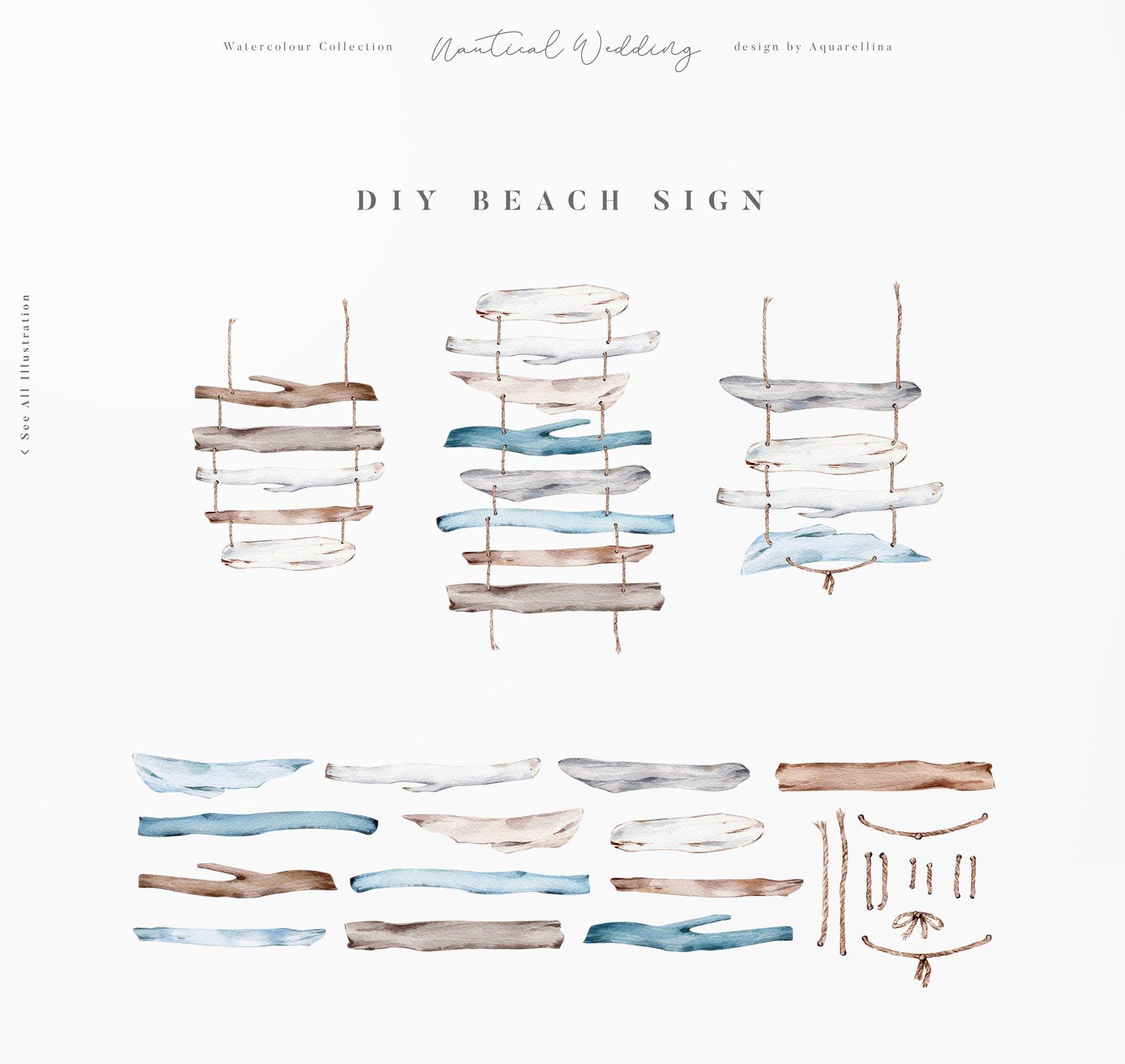 nautical beach wedding illustrations by aquarellina screenshot 7 6