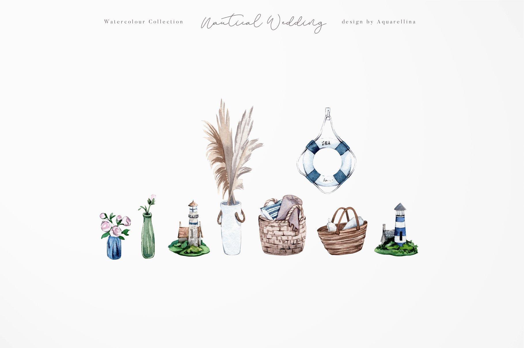 nautical beach wedding illustrations by aquarellina screenshot 11 12