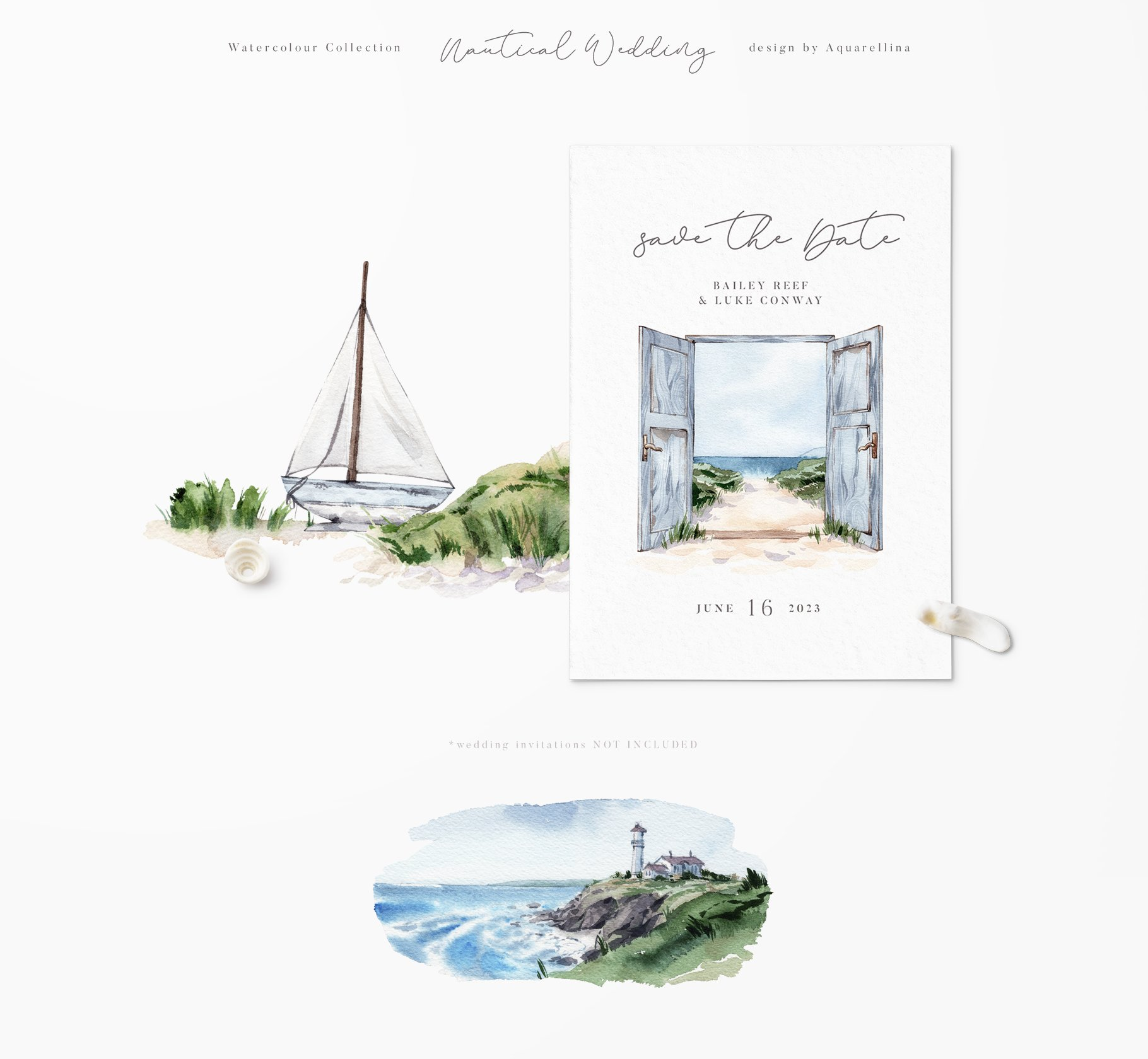 nautical beach wedding illustrations by aquarellina screenshot 24 9