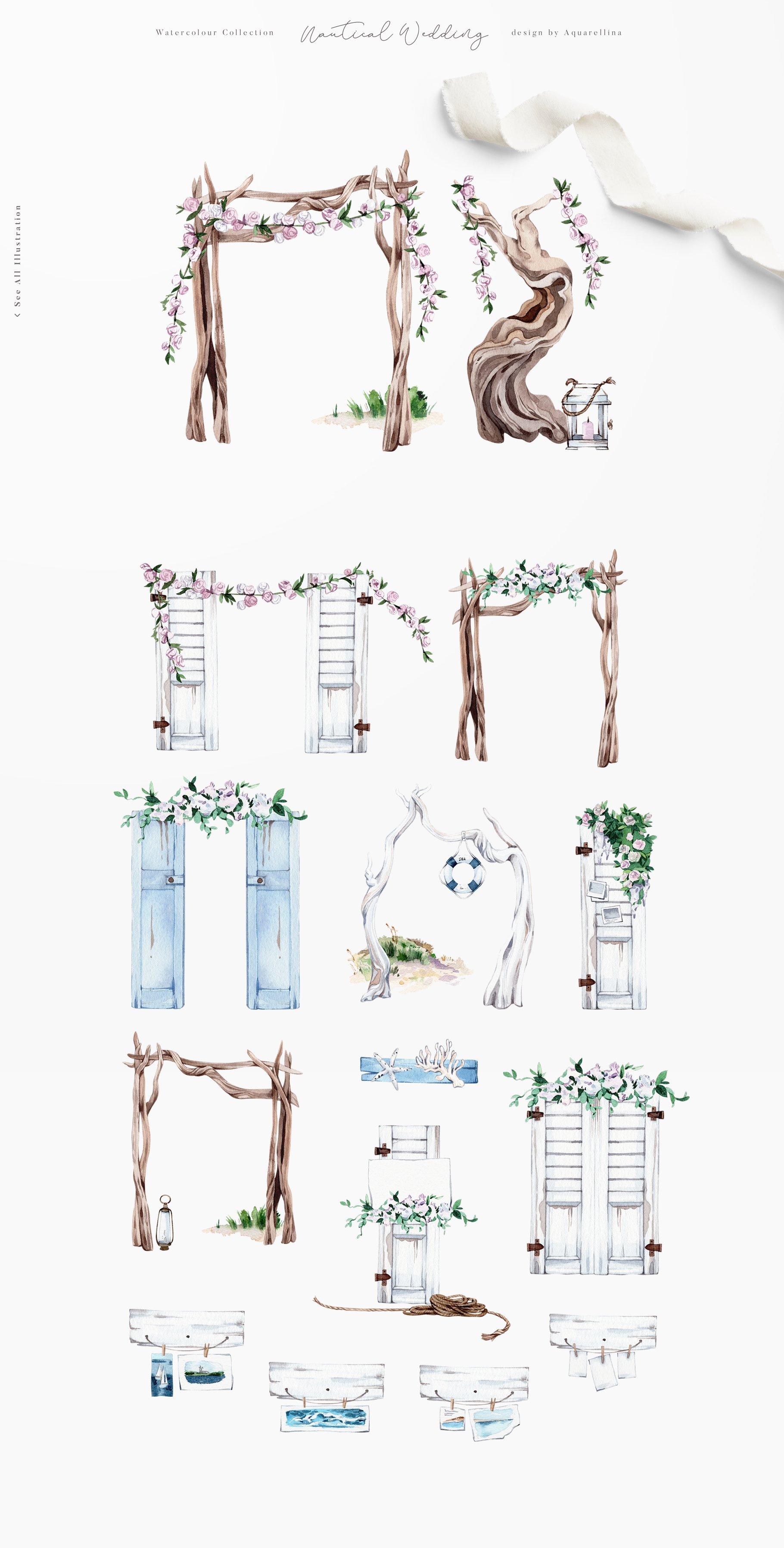 nautical beach wedding illustrations by aquarellina screenshot 19 13