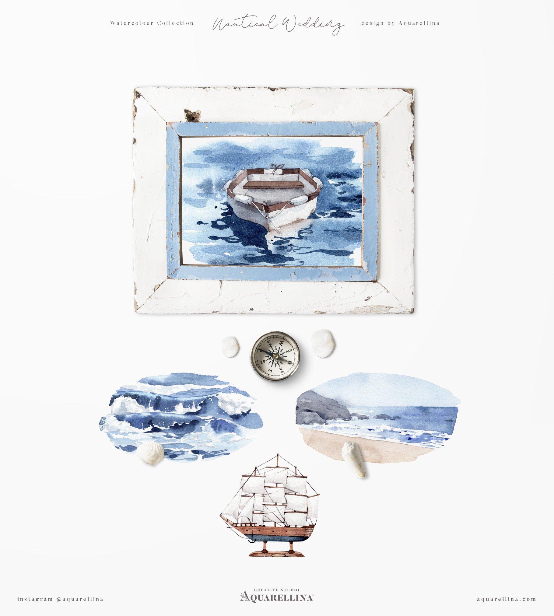 nautical beach wedding illustrations by aquarellina screenshot 23 15