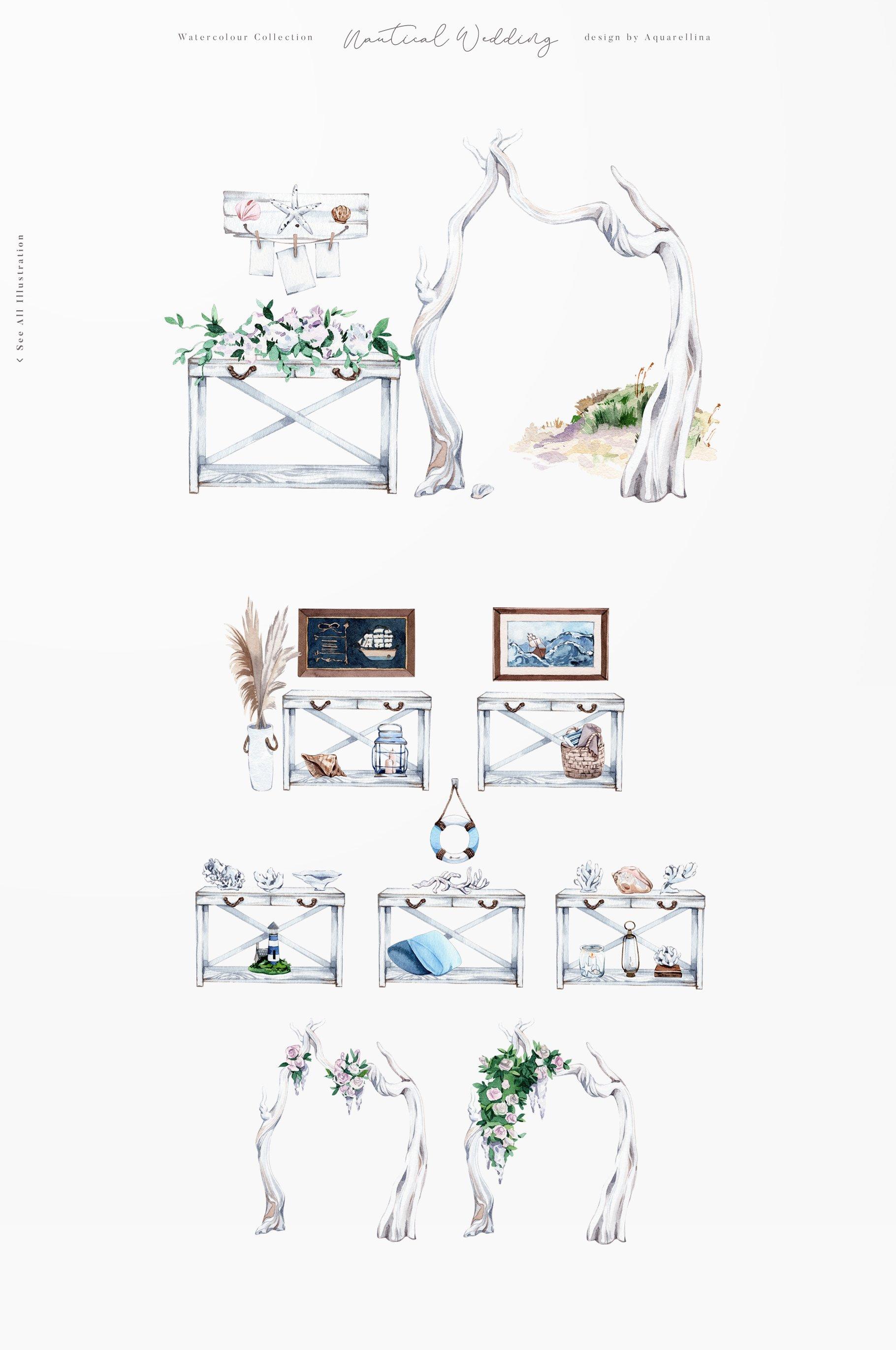nautical beach wedding illustrations by aquarellina screenshot 18 16