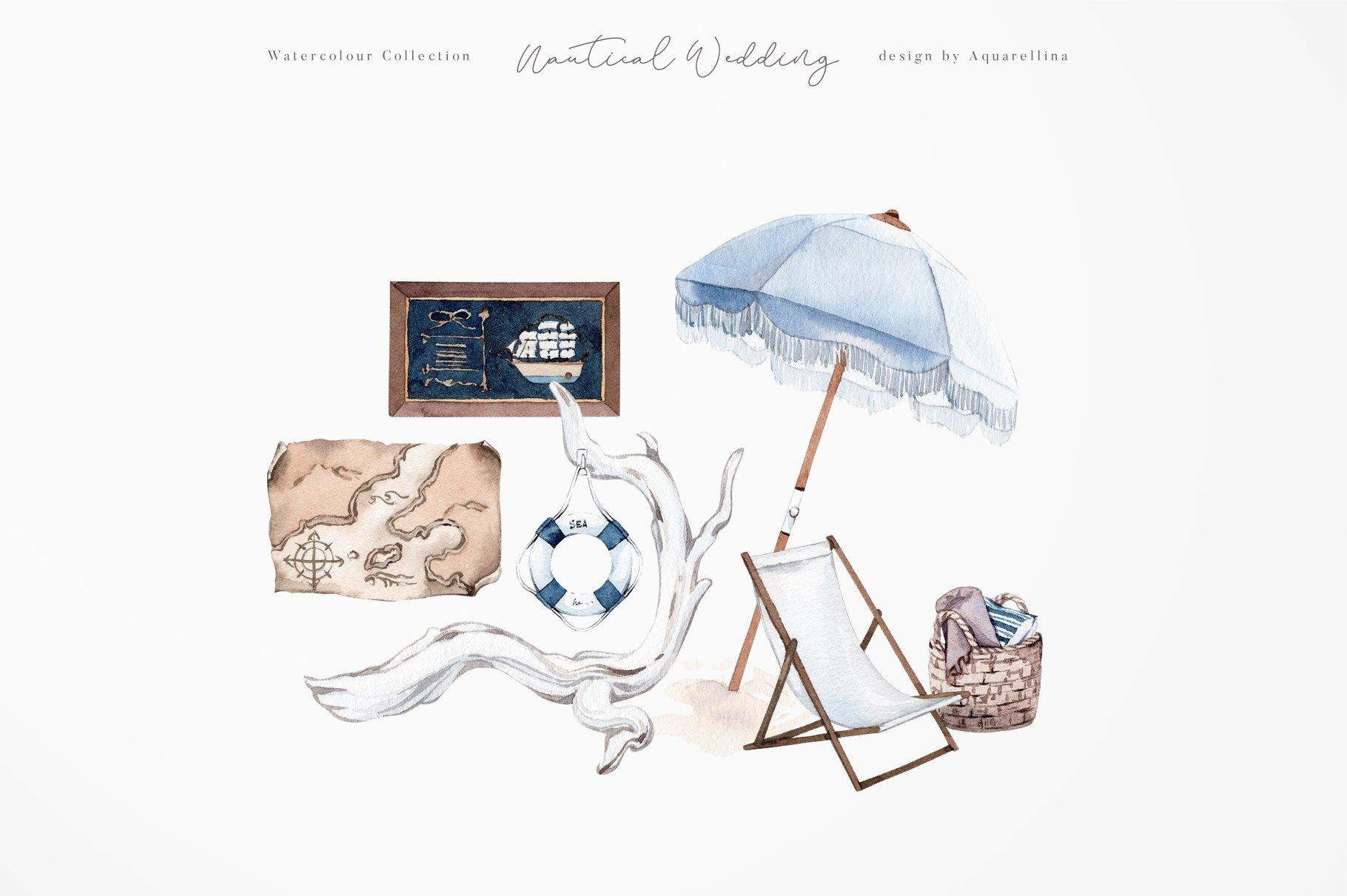 nautical beach wedding illustrations by aquarellina screenshot 17 18