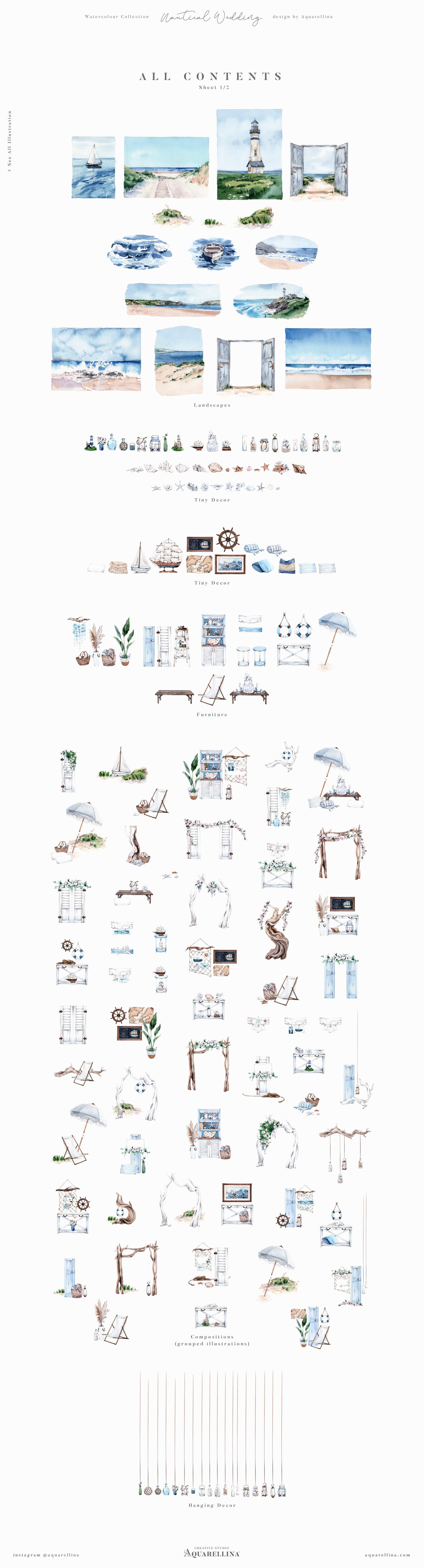 nautical beach wedding illustrations by aquarellina all items 1 20