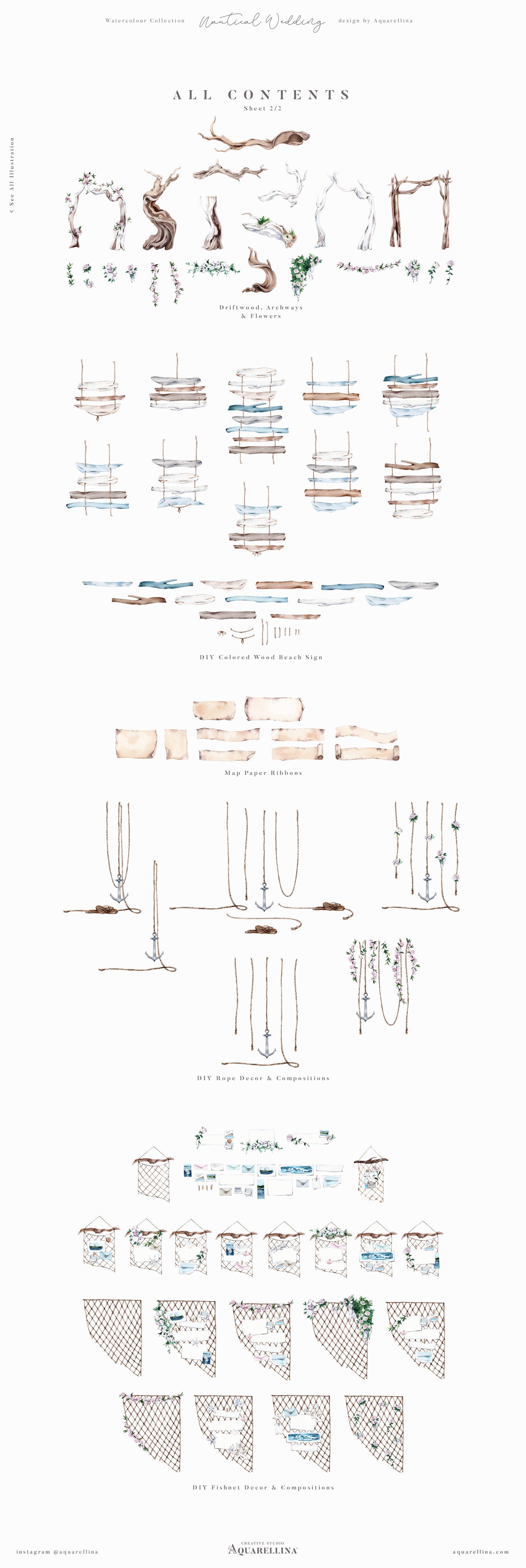 nautical beach wedding illustrations by aquarellina all items 2 21
