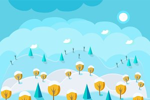 Cartoon nature landscape winter