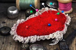 pin cushion and sewing tools
