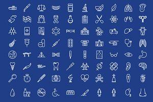 80 medical outline icons set