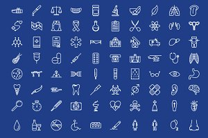 80 medical outline icons set