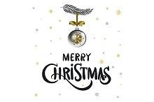 Merry Christmas calligraphy. ball
