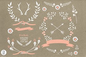 Floral wreaths laurels ribbons cream