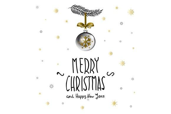 Merry Christmas calligraphy. ball - Illustrations