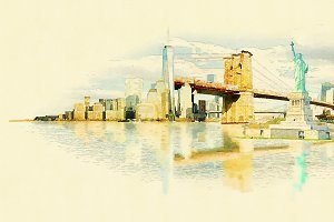 watercolor illustration newyork city