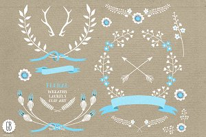 Floral wreaths laurels ribbons blue