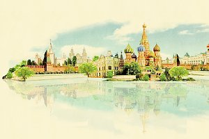 water color panoramic moscow
