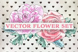 Watercolor Valentine Vector Flowers