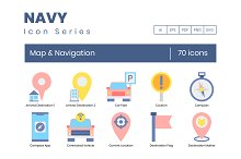 70 Map & Navigation Icons - Navy by  in Graphics