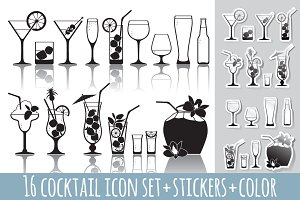 16 cocktail icons set+stickers