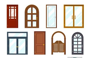 Vector colourful front doors