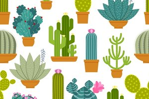 Cactus seamless pattern and label
