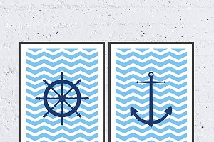 Sea Chevron Printable Poster