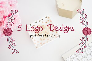 Logo Design Bundle - 5 Hand Drawn