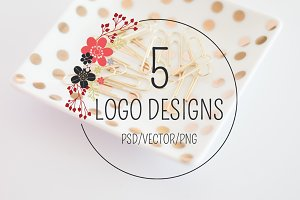 Logo Design Bundle - 5 Hand Drawn
