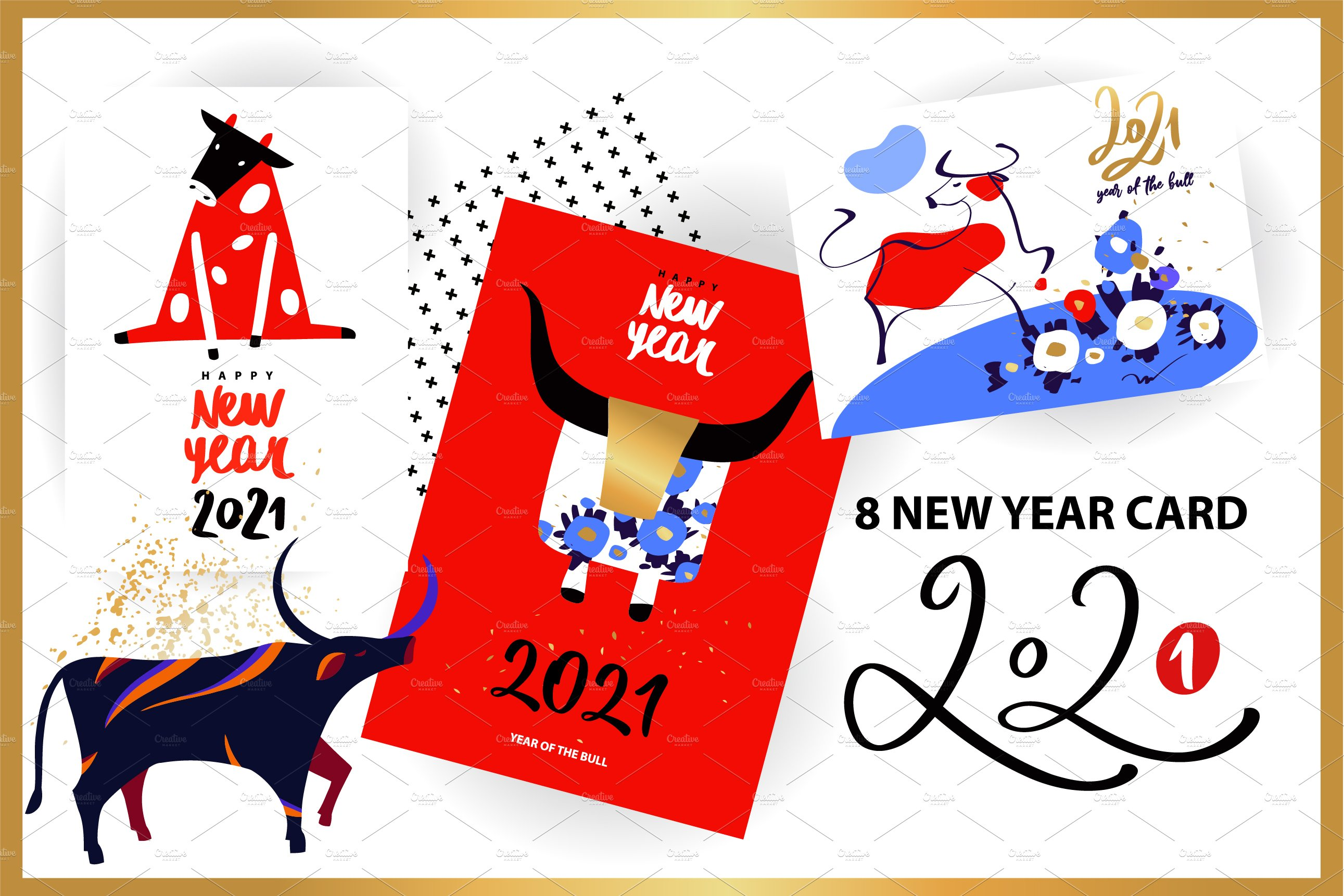 Happy New Year 2021 Pre Designed Illustrator Graphics Creative Market