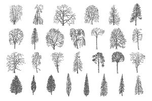 28 Ink trees vector set