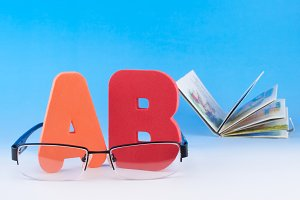 ABC letters and eyeglasses