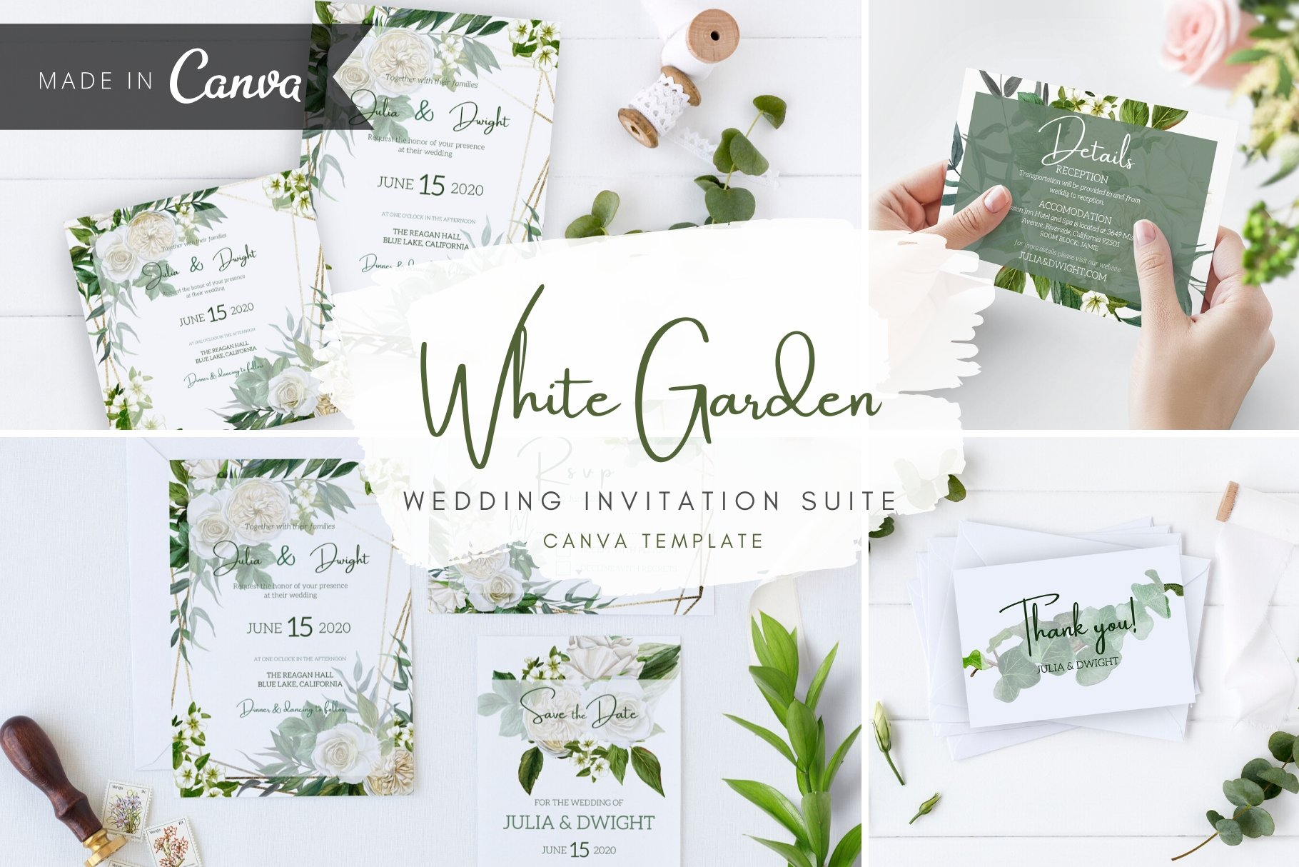 Wedding Watercolor Invitation, Canva  Creative Canva Templates