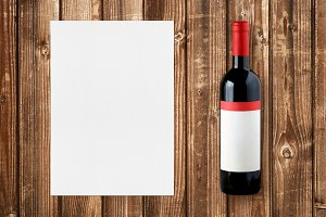 Wine bottle and paper for wine list