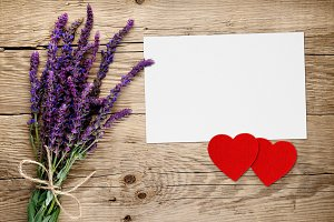 Salvia flowers and greeting card