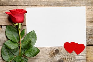 Rose and greeting card with hearts