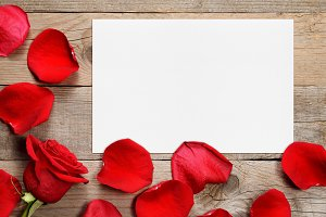 Red rose petals and greeting card