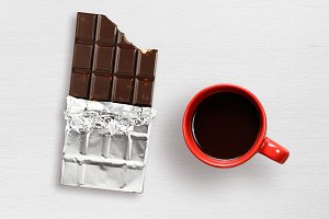 Chocolate and coffee cup