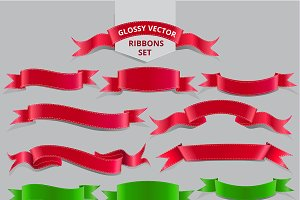 Realistic Glossy Vector Ribbons Set