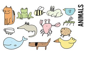 Animal Doodles Clipart