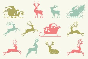 Reindeer and Santa Claus Silhouettes