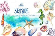 Seaside -Watercolor Clip Arts