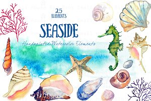 Seaside -Watercolor Clip Arts