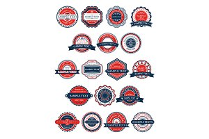 Circular retro badges or labels set