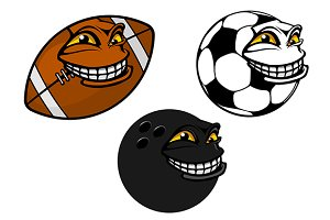 Grinning cartoon soccer, football an