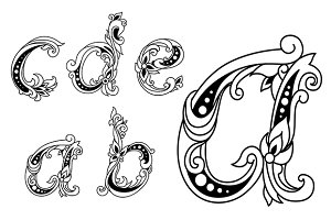 Calligraphic floral lower case alpha