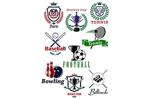 Heraldic sporting emblems or badges