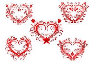 Elegant floral red valentine hearts