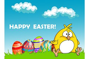Happy Easter greeting card with eggs
