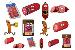Cartoon wurst, sausage and salami ch