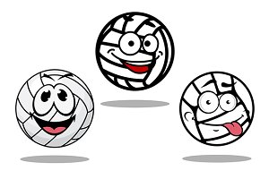 White cartoon volley balls character